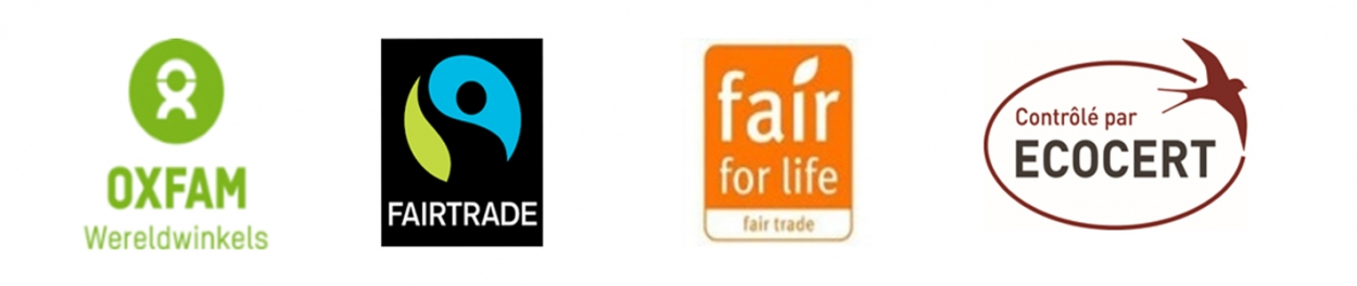 Foto van de 4 logo's waar fairtrade mee samenwerkt (Oxfam, fairtrade, fair for life, ecocert)